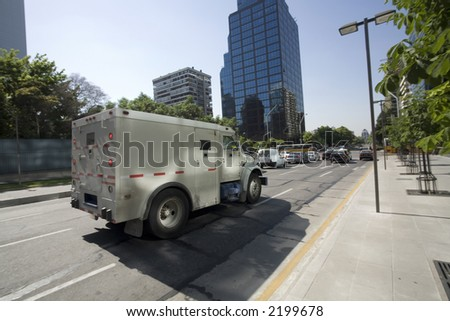 Armored truck on its way to pick or leave up money