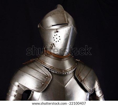 Armour of the medieval knight. Metal protection of the soldier against the weapon of the opponent #22100407