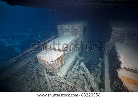 Armoured cars on a Rolls Royce chassis in hold 1 of the SS Thistlegorm.
