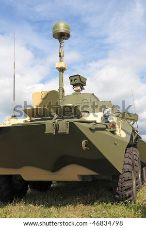 Armoured troop-carrier with a radar and the device of night vision