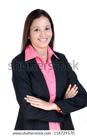 Arms crossed business woman against white  background