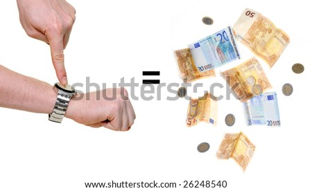 arms indicating time is money isolated over white background