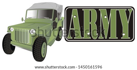 army banner and army car