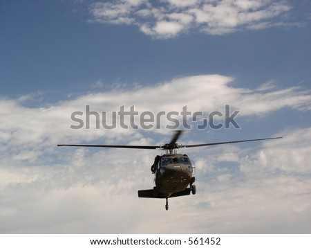 Army Blackhawk helicopter hovering