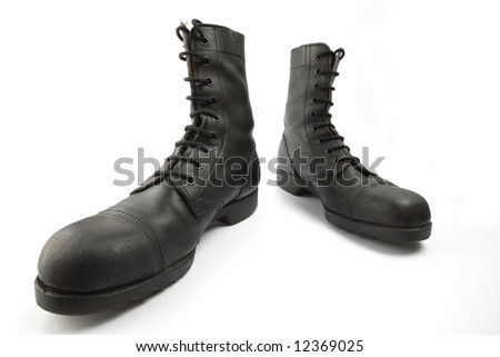 Army boots, isolated