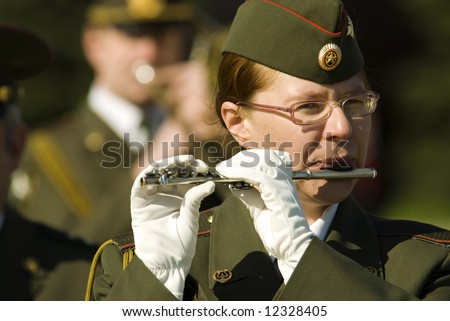 army brass band on 9 may ,Victory Day in Russia(selective focus)