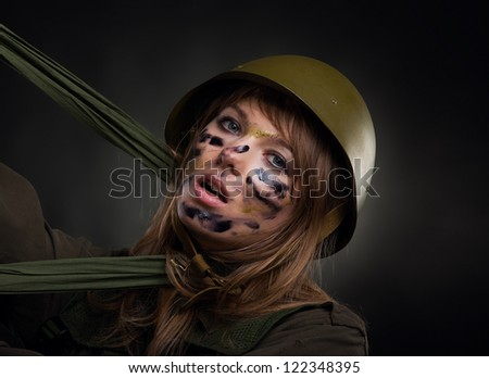 army girl, soldier woman defense survive, wear helmet military uniform over black background