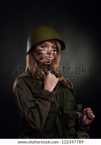 army girl, soldier woman wear helmet military uniform over black ...