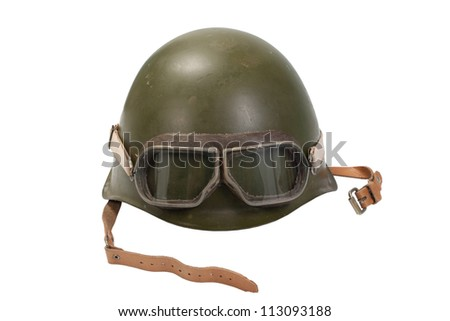 army helmet with goggles isolated on white