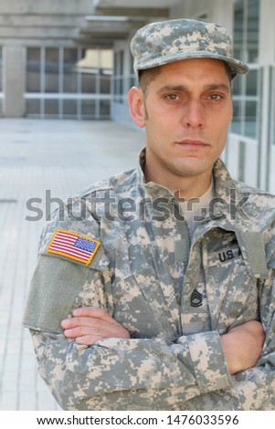 Army soldier looking unhealthy and sad