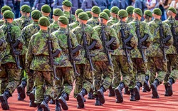 Army soldiers marching on parade