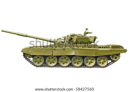 Army tank on white background