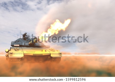 army tank with fictive design fighting shooting in desert, very high resolution patriotic concept - military 3D Illustration