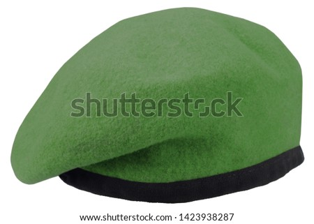 Army uniform green beret isolated
