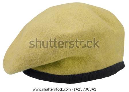 Army uniform yellow beret isolated
