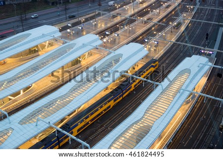 ARNHEM, THE NETHERLANDS - NOV 21, 2015: View on the platforms of the new Arnhem Central Station.  #461824495