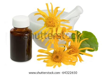 Arnica blossoms and mortar with little brown bottle over white