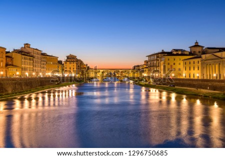 Arno River - A panoramic dusk view of Arno River at the Ponte Vecchio