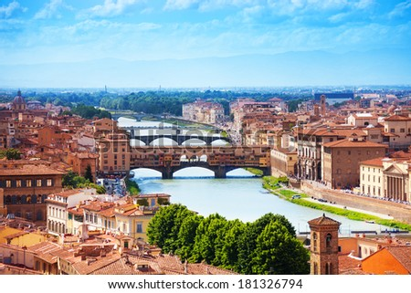 Arno river and Ponte Vecchio panorama of Florence