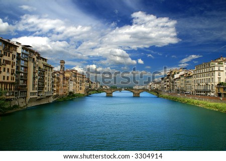 Arno river in Florence (Firenze), Tuscany, Italy