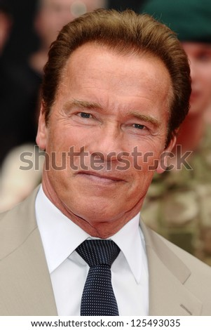Arnold Schwarzenegger arriving for the UK Premiere of The Expendables 2 at the Empire Cinema in, Leicester Square, London. 13/08/2012 Picture by: Steve Vas