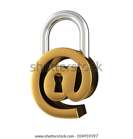 Arobase sign as padlock , isolated on white