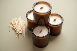 Aroma candles collection for spa salon decoration. Spa candles composition.