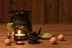 Aroma Lamp With Burning Candle. Aromatherapy. Essential Oil. Spa Room