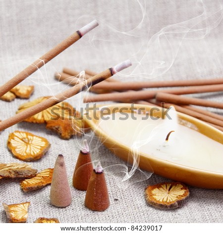 Aroma Set of Candle and Smoking Sticks with Cinnamon