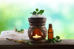 aroma therapy aromatic Essential oil diffuser aroma lamp with herb and oil bottle for cosmetics, spa, health, nature concept