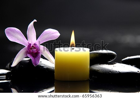 aromatherapy candle and pink orchid on zen stones/ tranquil spa scene