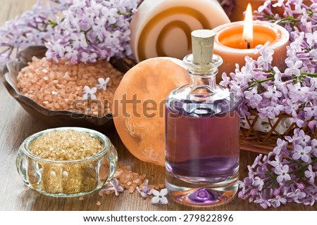 Aromatherapy essential oil, brown sugar, sea salt, natural soap and lilac flower