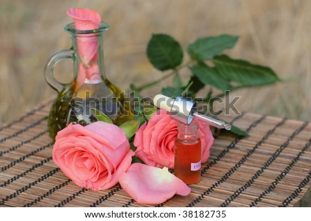 aromatherapy essential oil with roses.