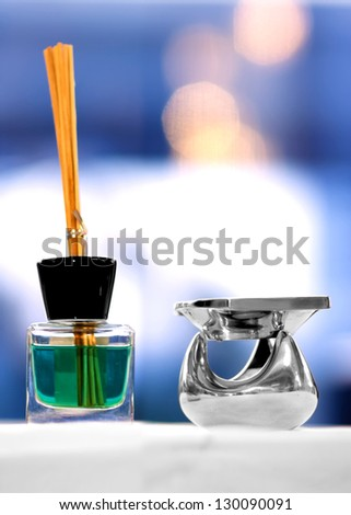 Aromatherapy lamp and oils with bamboo stick