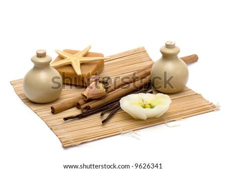 Aromatherapy, massage & spa. Isolated on white background