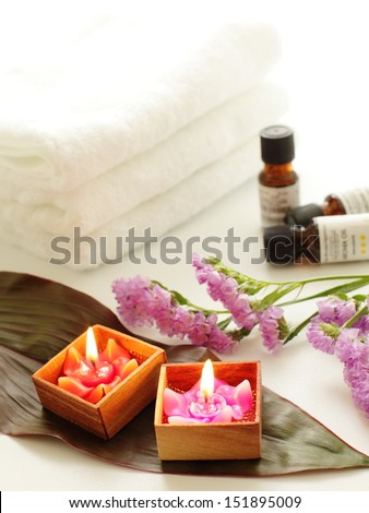 aromatherapy oil and towel for spa image