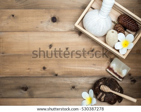 Aromatherapy  product  Spa set ,candle ,soap,coconut,  massage with white  wood background. top view,flat lay composition. #530387278