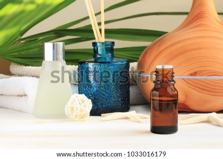 Aromatherapy set. Essential oil, glass bottles, aroma diffuser, relaxing spa, natural home fragrances.  #1033016179