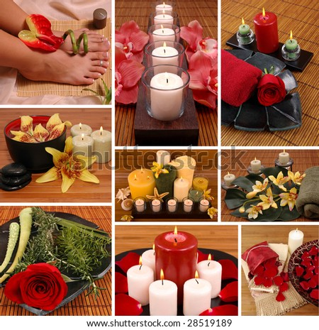 Aromatherapy, spa, pedicure collage