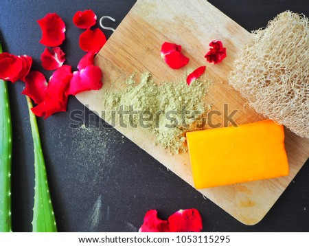 aromatherapy spa with soap Making, handmade shower,red rose petals,loofah. healthcare concept.