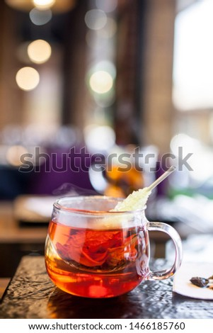 Aromatic and aromatic tea on table