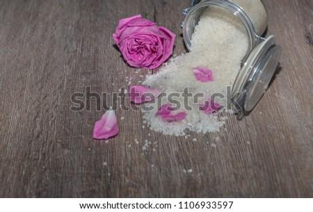 Aromatic bath salts and aromatic rose petals.  #1106933597