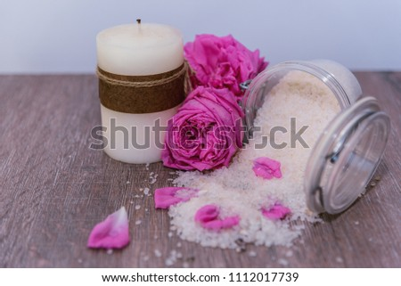 Aromatic bath salts, aromatic rose petals and a candle #1112017739