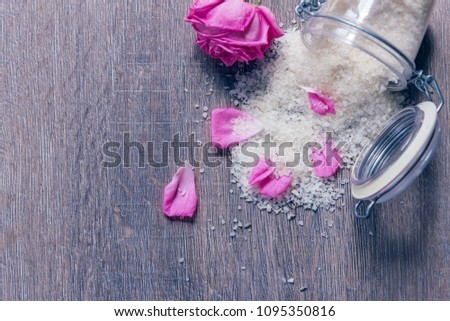 Aromatic bath salts with aromatic petals of Bulgarian rose. Close up #1095350816