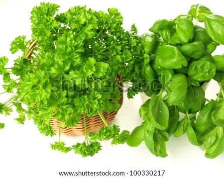 Aromatic bouquet of parsley and basil