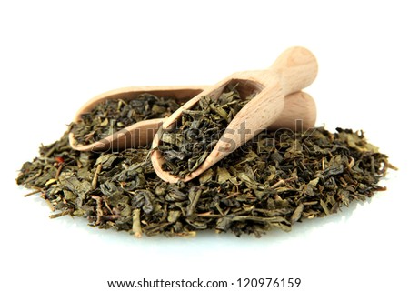 aromatic green dry tea, isolated on white