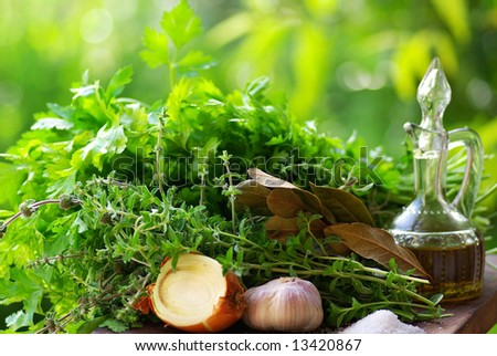 Aromatic Herbs and condiments.
