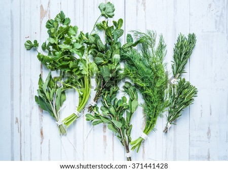 Aromatic herbs and spices from garden, healthy cooking concept, lay flat from above