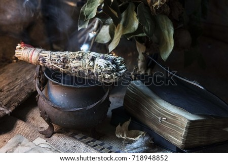 Aromatic herbs. Fumigation. Witchcraft. Magic #718948852