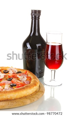 Aromatic pizza and wine isolated on white